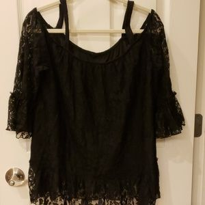 Black Lace Blouse W/Open Shoulders